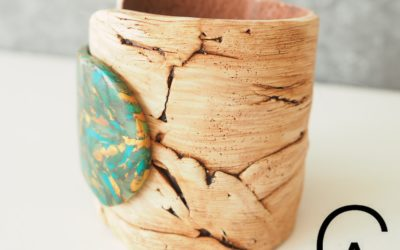 Atelier argile polymère bracelet imitation bois flotté et pierre