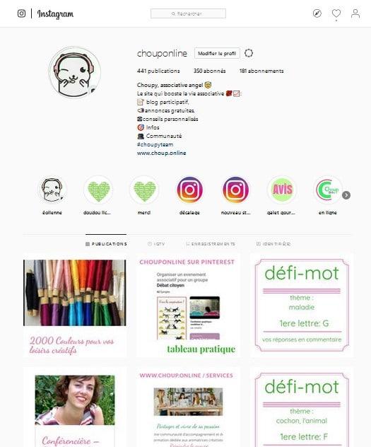 communauté engagée services aux associations chouponline bilan 20018 accroche instagram